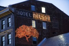 Hotel Nelson in oude stad Montreal Quebec Canada royalty-vrije stock foto