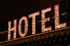 Hotel neon lights Royalty Free Stock Image