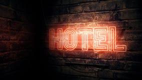 Hotel neon sign. Conceptual 3d rendering illustration royalty free illustration