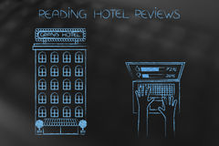 Hotel next to laptop user evaluating feedback left by others Royalty Free Stock Photos