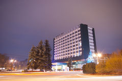 Hotel at night. Napoca hotel at night, in Cluj Napoca, Romania. Long exposure photograph taken on 2012.01.08 stock photos