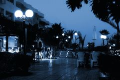 Hotel at night. Picture of Hotel at night (toned in blue Royalty Free Stock Images