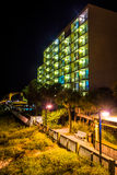 Hotel at night in Folly Beach, Florida. Royalty Free Stock Photography