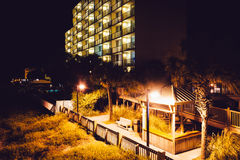 Hotel at night in Folly Beach, Florida. Stock Photography