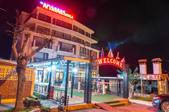 Hotel on the night promenade of Pomorie, Bulgaria stock photography
