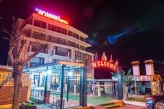 Hotel on the night promenade of Pomorie in Bulgaria stock image