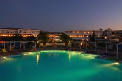 Hotel at night time. Picture of a Hotel at night time royalty free stock photography
