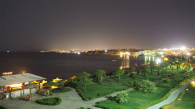 Hotel night view. Hotel night sea view from top Stock Photography