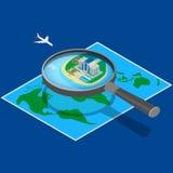 hotel no mapa perto do mar Imagens de Stock