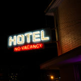 Hotel No Vacancy Neon Sign Stock Images