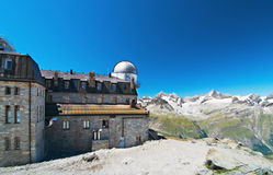 Hotel with observatory in the mountains. Of Switzerland royalty free stock photography