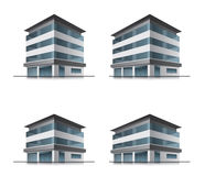Hotel or office buildings. Set of four hotel or office vector building Royalty Free Stock Photo