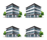Hotel or office buildings with trees. Set of four hotel or office vector building icons with trees.This illustration is EPS10 vector file and includes Royalty Free Stock Photo
