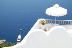Hotel in Oia village, Santorini Stock Photo