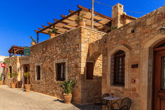 Hotel in old Chersonisos. In the street of old city chersonisos stock photos