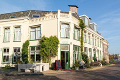 Hotel in old town of Harlingen, Netherlands Stock Photos