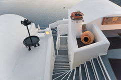 Hotel omerico delle poesie in Firostefani, Santorini Immagine Stock