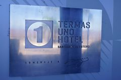 Hotel one Termas de Rio Hondo. Detail with the hotel one Termas de Rio Hondo royalty free stock photos