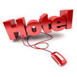 Hotel online. 3D rendering of the word hotel connected to a computer mouse