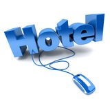 Hotel online blue Stock Photography