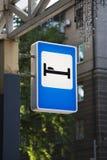 Hotel ou motel do sinal de tráfego Imagens de Stock
