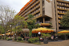 Hotel and outdoor cafe on promenade of Montreux, Switzerland. Stock Photo