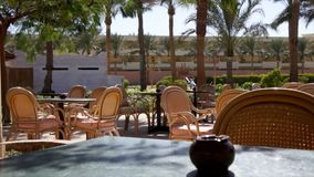 Hotel outdoor cafe view. Hotel outdoor cafe for tourists in Egypt view stock footage