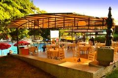 Hotel outdoor pool restaurant Royalty Free Stock Photos