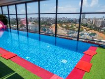 Hotel outdoor swimming pool Royalty Free Stock Images