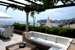 Hotel outdoors lounge. Veranda overlooking Dubrovnik in Croatia Stock Images