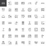 Hotel outline icons set. Linear style symbols collection, line signs pack. vector graphics. Set includes icons as Double Bed Room, Towels, Mini bar, Room Royalty Free Stock Image