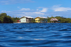 Hotel over water in the Caribbean sea Stock Photos