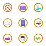 Hotel pack icons set, cartoon style Royalty Free Stock Photo