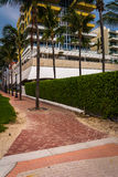 Hotel and palm trees in Miami Beach, Florida. Stock Images