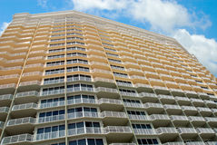 Hotel in Panama City Florida. The sky is limit of this high rise hotel in Panama City Florida. Balcony side view from ground up as seen from the ocean Stock Photography