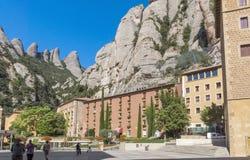 Hotel para los turistas en la montaña de Montserrat Imágenes de archivo libres de regalías
