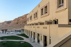 Hotel in parco Massada sulla montagna vicino al mar Morto in Israele del sud Fotografia Stock Libera da Diritti