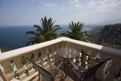Hotel patio taormina sicily stock photography