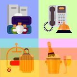 Hotel personal professional service objects executive help hostel tools vector illustration. Receptionist travel accommodation tourism household tools Royalty Free Stock Image