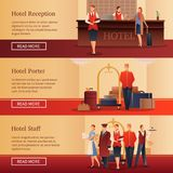 Hotel Personnel Flat Banners. Hotel personnel set of flat horizontal banners with administrator at reception, porter with baggage isolated vector illustration royalty free illustration