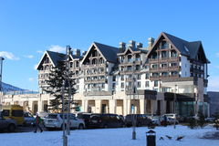Hotel. Pic Palace hotel in the ski tourist complex Stock Photos