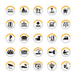 Hotel pictograms. Pictogram set for hospitality industry in semicircles Stock Photography