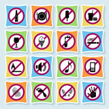 Hotel pictograms_ban-03. Set of signs forbidding people to communicate in hotel and city Royalty Free Stock Images