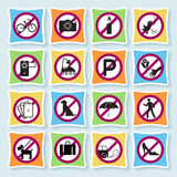 Hotel pictograms_ban-04. Set of signs forbidding people to communicate in hotel and city Royalty Free Stock Image