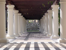Hotel pillars and walkway Stock Photo