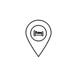 Hotel Pin line icon, navigation web. Hotel location map pointer, a linear pattern on a white background, eps 10 Stock Photos