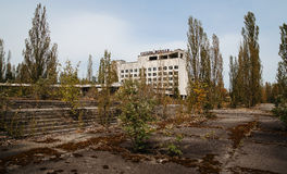 Hotel Polissya at Chernobyl city, Ukraine. Abadoned town.  Royalty Free Stock Images