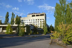 Hotel Polissya, zona di Chornobyl Immagine Stock