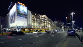 Hotel Polonia in the center of Warsaw during the night Stock Photography