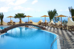 Hotel pool. In Santorini Island Stock Photography